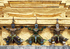 Garudas on the base of golden Satupa Stock Photo