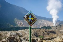 Garut, Indonesia - August 12, 2018 : A sign \'Be careful, Keep up the spirit\' on the track of mount Papandayan that encourage royalty free stock photography