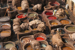 Garveri i Fez, Marocko Arkivfoton