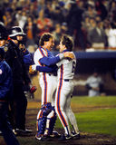 Gary Carter en Wally Backman, 86 Wereldreeksen Stock Foto's