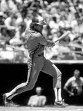 Gary Cater Montreal Expos. Gary Carter of the Montreal Expos spraying the baseball for a base hit royalty free stock photos
