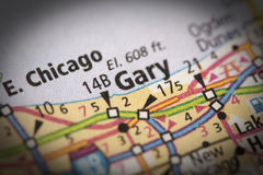 Gary, Indiana on map. Closeup of Gary, Indiana on a road map of the United States royalty free stock photos