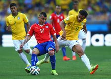 Gary Medel and  Fred  Coupe du Monde 2014 Stock Photography
