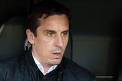 Gary Neville. Head coach of Valencia Club de Futbol during the La Liga match at Mestalla, Valencia Stock Photo