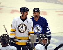 Gary Roberts and Ed Belfour HHOF game Stock Photo