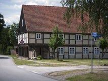 Garz-Vorlaubenhaus-Seite Stock Images