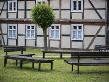 Garz-Vorlaubenhaus-Wand Stock Photo