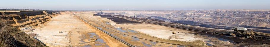 GARZWEILER,德国- 2018年2月14日::褐煤露天矿领域巨大的全景  库存照片