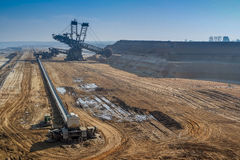 GARZWEILER, GERMANY - AUGUST 15 2015: Open cast mine short before the demonstration activity starts. Open cast mine short before the demonstration activity royalty free stock images
