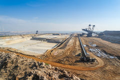 GARZWEILER, GERMANY - AUGUST 15 2015: Open cast mine short before the demonstration activity starts. Open cast mine short before the demonstration activity royalty free stock image
