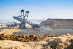 GARZWEILER, GERMANY - AUGUST 15 2015: Open cast mine short before the demonstration activity starts Royalty Free Stock Images