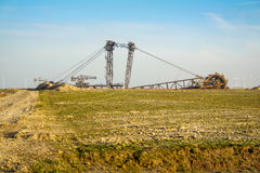 GARZWEILER, GERMANY - AUGUST 15 2015: Open cast mine short before the demonstration activity starts Stock Images