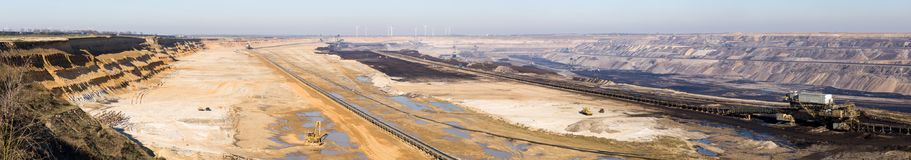 GARZWEILER, GERMANY - FEBRUARY 14, 2018: : Huge Panorama of Brown Coal Opencast Mining Field Stock Photo