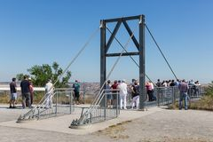 People visiting viewpoint with skywalk at Garzweiler brown-coal mine Germany Royalty Free Stock Photos