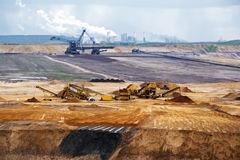 Garzweiler opencast mining lignite, surface mine in Germany. Garzweiler opencast mining lignite, surface mine in North Rhine-Westphalia, Germany, controversial royalty free stock photography