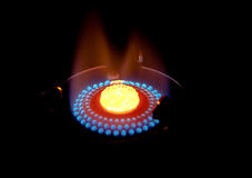 Gas. Burning gas on a black background Stock Photography