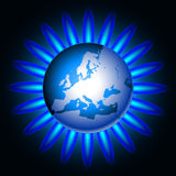 Gas. Illustration of Earth and a natural gas flame Royalty Free Stock Image