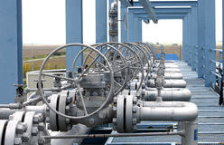 Gas. Closeup view of detailed pipeline workings and equipment Stock Image