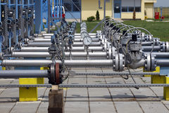 Gas. Closeup view of detailed pipeline workings and equipment Stock Photography