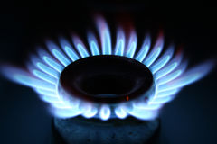 Gas. This is gas from an oven seen as energy / blue flame Royalty Free Stock Images