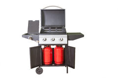 Gas BBQ grill. Close up on white royalty free stock photography