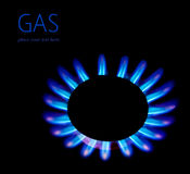 Gas blaze. Blue flower, isolated on black background with text space, industrial concept, consumption of natural resources Stock Images