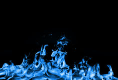 Gas blue fire. Isolated blue flame on black background Stock Photography