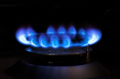 Gas Blue Flame. Gas stove, Blue Flame in dark background Stock Photography