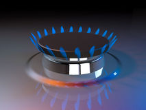 Gas blue flame kitchen cook fire butane 3d rendering Royalty Free Stock Images