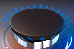 Gas blue flame kitchen cook fire butane 3d rendering Stock Images