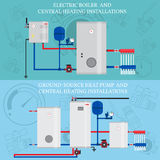 Gas boiler and central heating installations Royalty Free Stock Images