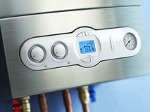 Gas boiler control panel. Gas boiler home heating. Royalty Free Stock Photography