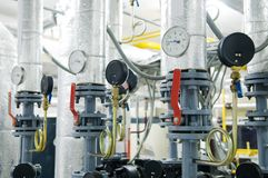Gas boiler room equipment stock image