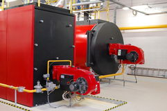 Gas boilers. In gas boiler room for steam production stock photography