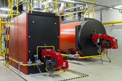 Gas boilers. In gas boiler room royalty free stock photo