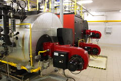 Gas boilers in gas boiler room. For steam production royalty free stock image