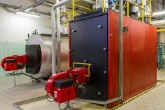 Gas boilers in gas boiler room. Industrial Gas boilers in gas boiler room stock image