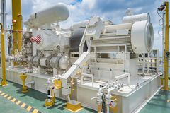 Gas booster compressor in gas vapor recovery unit of oil and gas central processing platform. Gas booster compressor in gas vapor recovery unit of oil and gas stock images
