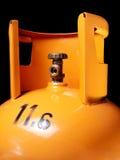 Gas bottle. Closeup view of an orange gas bottle with 11,6 kilos od gas royalty free stock photo
