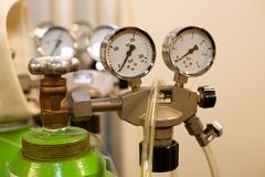 Gas Bottle with Pressure Indicator Royalty Free Stock Photo