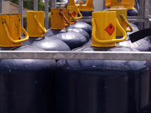 Gas Bottles. With red sign Stock Photo