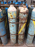 Gas bottles. Used old gas bottles with propane butane Stock Images