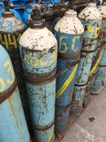 Gas bottles. Used old gas bottles with propane butane Royalty Free Stock Images