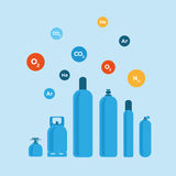 Gas bottles vector illustration Royalty Free Stock Photos