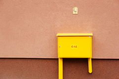 Gas box. Metal gas box on wall stock images