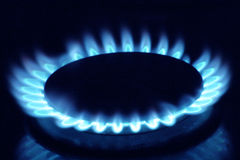 Gas burner. Close up of a gas burner royalty free stock photography