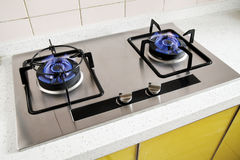 Gas burner. On modern stainless steel stove royalty free stock image
