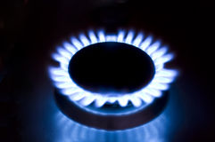 Gas burner. On the black background royalty free stock photo