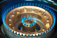 Gas burner. Propan-butane kitchen burner with blue flame royalty free stock photos