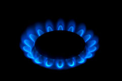 Gas-burner. Isolated on black Stock Image